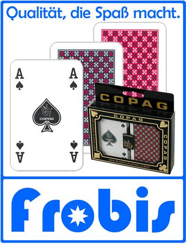 2 Pips 4 Copag Plastik Pokerkarten Jumbo Face Rot//Blau Kartenspiele von Frobis