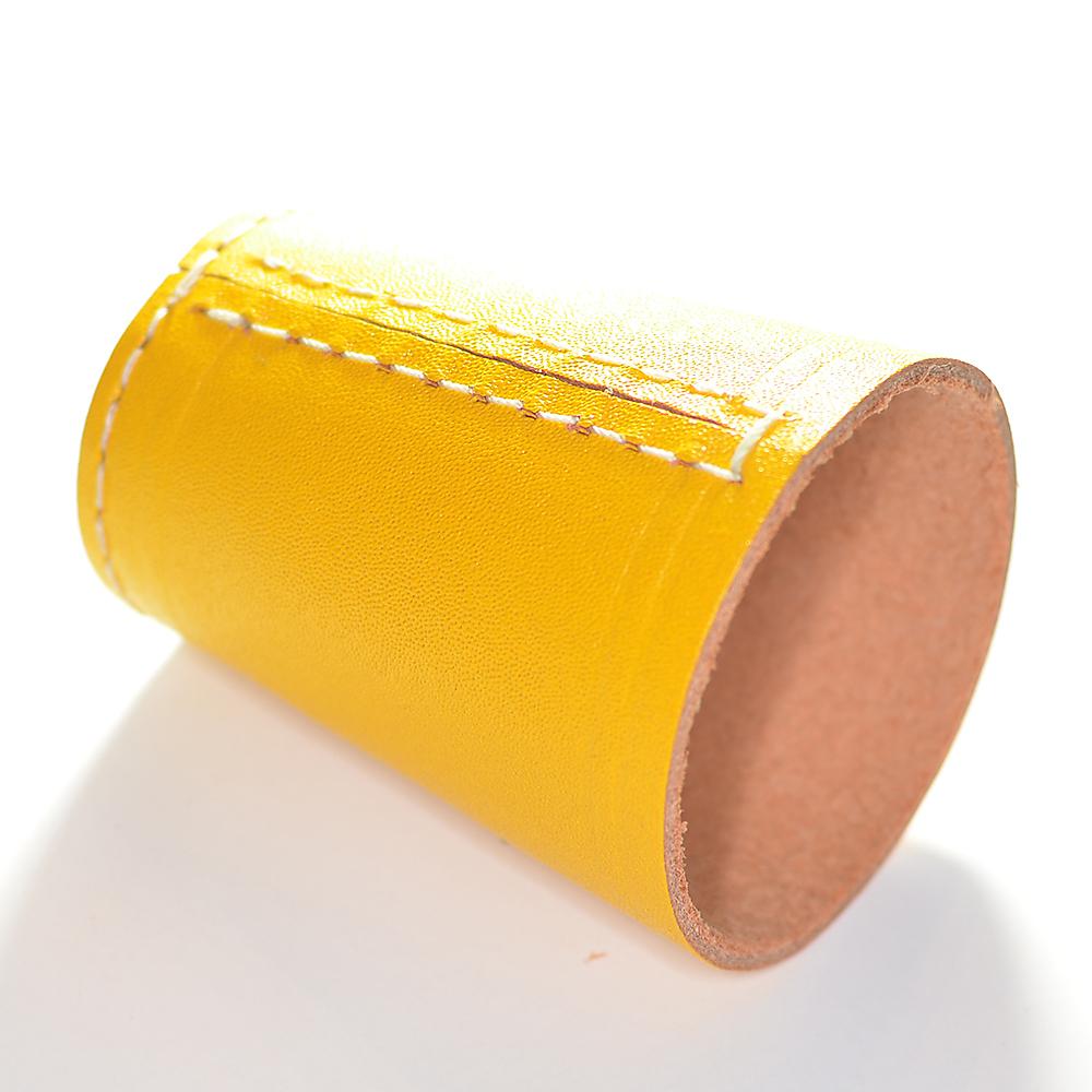 D Nnschiefer knobelbecher würfelbecher in gelb leder ohne würfel frobis